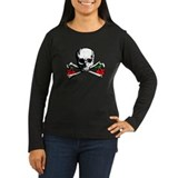 Cherry Crossbones Women's Long Sleeve Brown Shirt