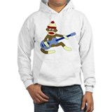 Sock Monkey Playing Blue Guitar Jumper Hoody