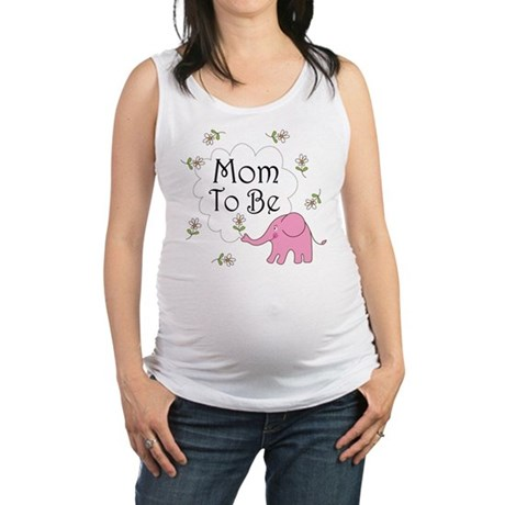 Mom To Be (pink elephant) Maternity Tank Top
