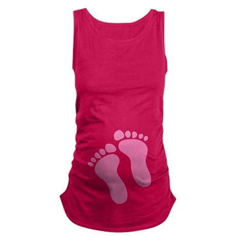 Pink Baby Girl Feet Maternity Tank Top