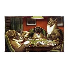 Waterloo Dog Poker 3'x5' Area Rug