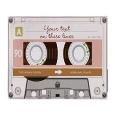 Cassette Tape - Tan Throw Blanket