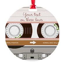 Cassette Tape - Tan Round Ornament