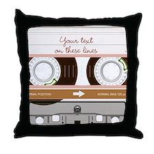 Cassette Tape - Tan Throw Pillow