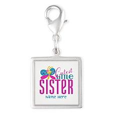 Custom Cutest Little Sister Silver Square Charm