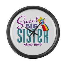 Custom Sweet Big Sister Owl Large Wall Clock