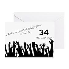 34th birthday party invitation Greeting Cards (Pk
