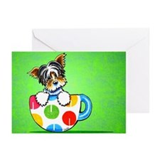 Biewer Yorkie Cup Green Greeting Cards (Pk of 20)