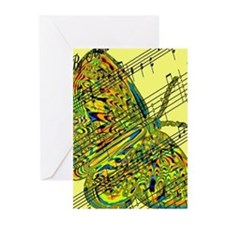 butterfly yellow music Greeting Cards (Pk of 20)