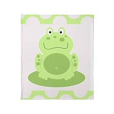 Cute Green Frog Throw Blanket