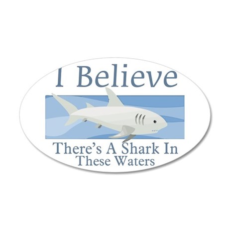 Shark In These Waters 35x21 Oval Wall Decal