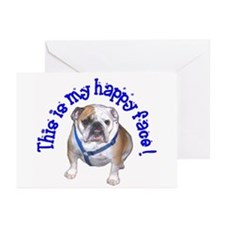 English Bulldog Happy Face Greeting Cards (Package
