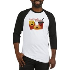 Smiling Fast Foodie Friends Baseball Jersey