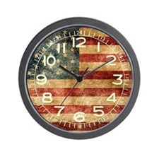 American flag grunge Wall Clock