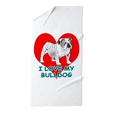 I Love My Bulldog Beach Towel