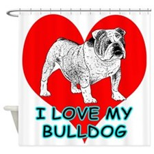 I Love My Bulldog Shower Curtain