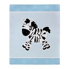 Cute Zebra with Blue Dots Throw Blanket