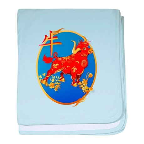 Year Of The Ox Oval baby blanket