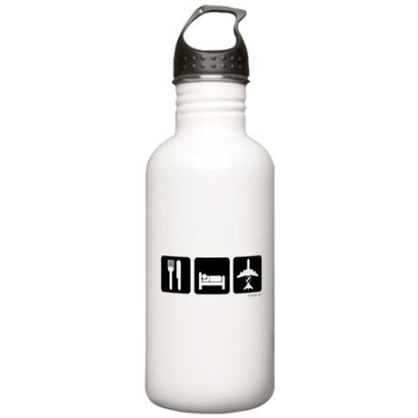 Eat, Sleep, AWACS dark Water Bottle