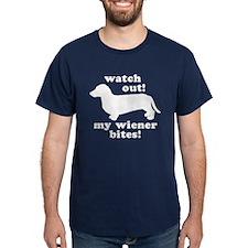 My Wiener Bites Navy Blue T-Shirt