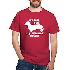 My Wiener Bites Dark Red T-Shirt