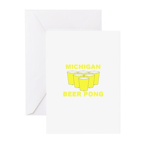 Michigan Beer Pong Greeting Cards (Pk of 10)