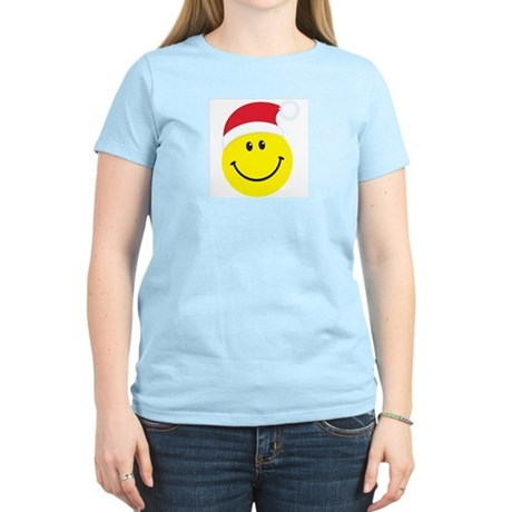 Santa Smiley Face: Women's Pink T-Shirt