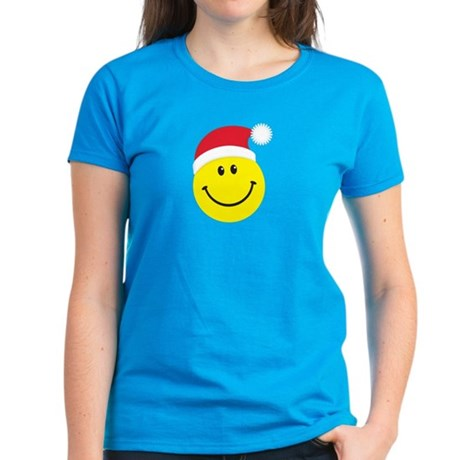 Santa Smiley Face: Women's Dark T-Shirt