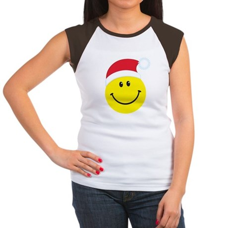 Santa Smiley Face: Women's Cap Sleeve T-Shirt