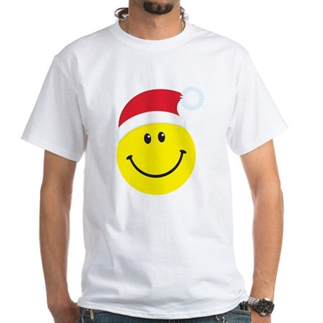 Santa Smiley Face: White T-Shirt