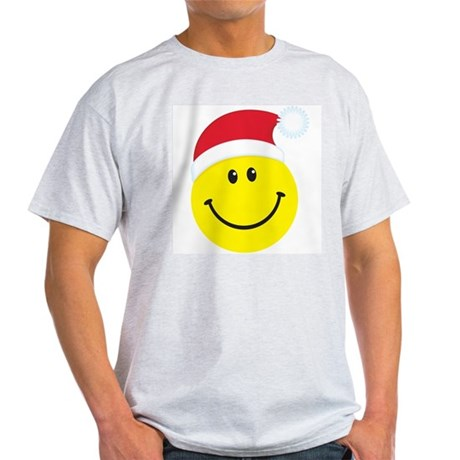 Santa Smiley Face: Ash Grey T-Shirt