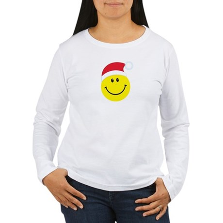 Santa Smiley Face: Women's Long Sleeve T-Shirt