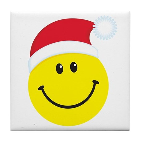 Santa Smiley Face: Tile Coaster