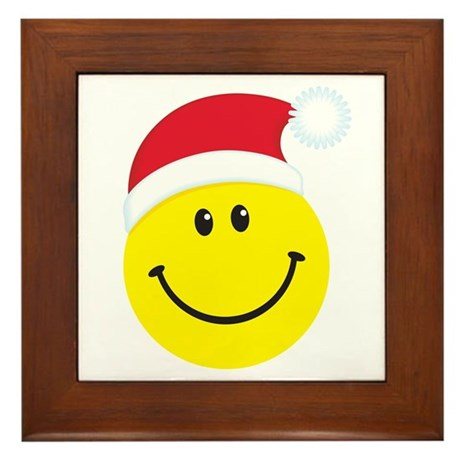 Santa Smiley Face: Framed Tile