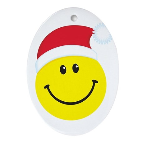Santa Smiley Face: Oval Ornament