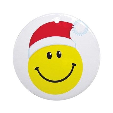 Santa Smiley Face: Ornament (Round)