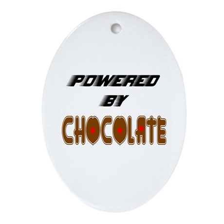 Powered by Chocolate Oval Ornament