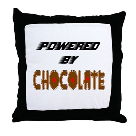Powered by Chocolate Throw Pillow