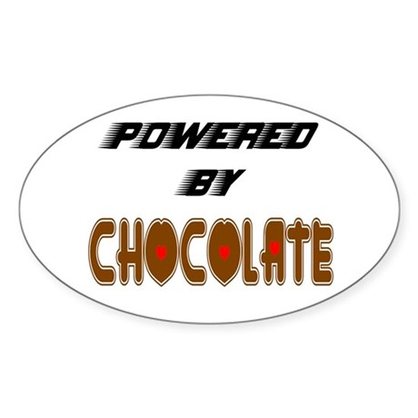 Powered by Chocolate Oval Sticker