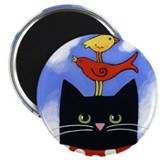 Black CAT &amp; 2 BIRDS ART Magnet