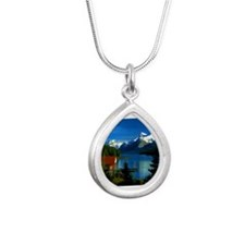 Alpine Lake Silver Teardrop Necklace