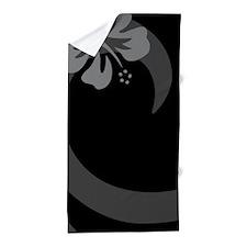Hibiscus Black Beach Towel