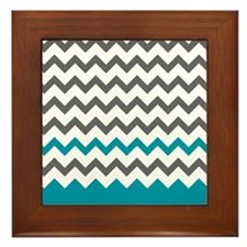 Teal Blue and Grey Framed Tile