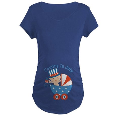 Coming In July Patriotic Due Date Maternity T-Shir