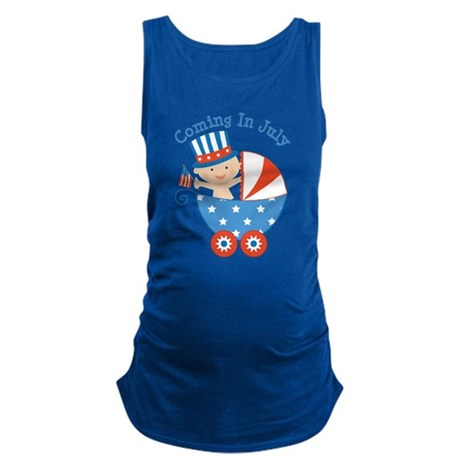 Coming In July Patriotic Due Date Maternity Tank T