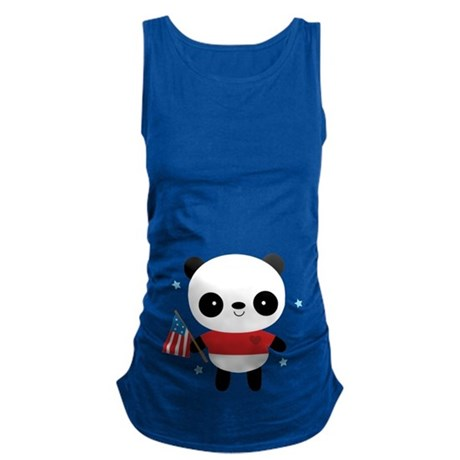 4th of july Panda Maternity Tank Top
