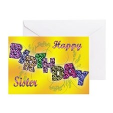 Birthday card for sister with floral text Greeting