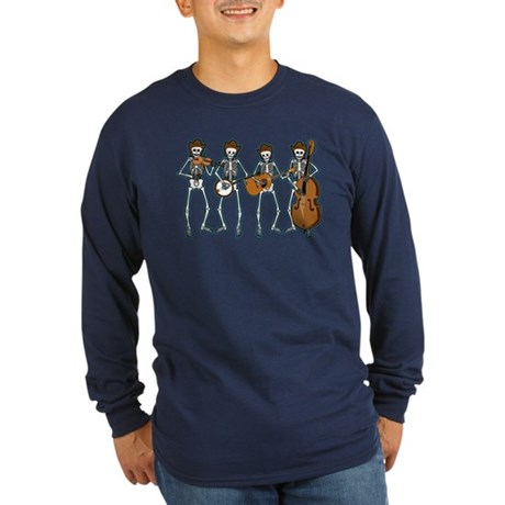 Cowboy Music Skeletons Long Sleeve Dark T-Shirt