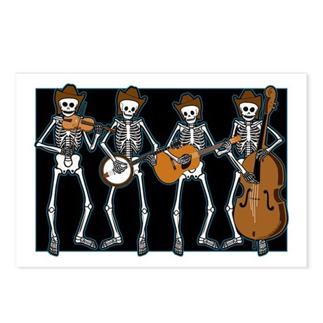 Cowboy Music Skeletons Postcards (Package of 8)