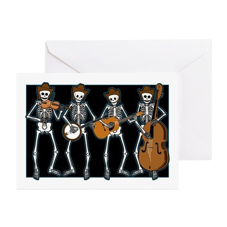 Cowboy Music Skeletons Greeting Cards (Pk of 10)